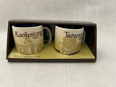 Starbucks Set Of Two Demitasse Global Espresso Cups Kaohsiung & Taiwan 3 oz NEW