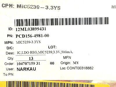 Mic5239-3.3ys Micrel Ic Reg Linear 3.3v 500ma Sot223 4 Pieces