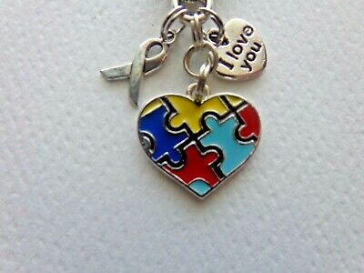 AUTISM AWARENESS KEYCHAIN CLIP FOR PURSE FOB BACKPACK BAG CHARM - Autism Backpack