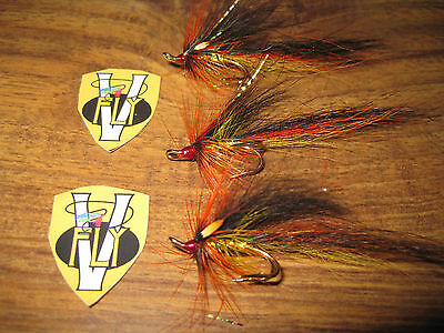 3 V Fly Size 10 RV Signature Ultimate Posh Tosh Double Salmon Flies