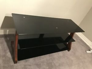 Brown wood / black glass TV stand