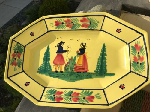 Vintage Soleil Yellow HB Quimper Holiday Platter Breton Couple Serving Tray