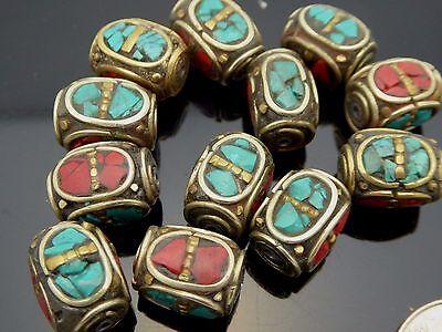 Vintage Antique Bronze 14 X 10mm Coral Turquoise Inlay Tibetan Bead One Piece