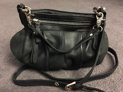 - Junior Drake Black Leather Crossbody Handbag Bag Purse