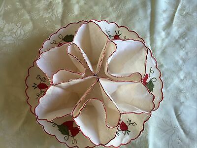 Linen comparmentalised table centre to display sweets etc. Strawberry decorated.
