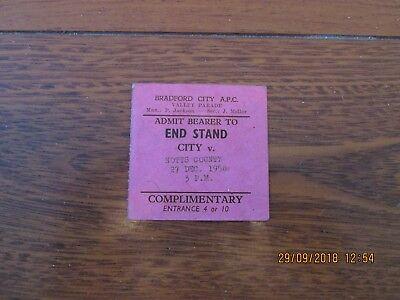 1958/9 BRADFORD CITY v NOTTS COUNTY TICKET