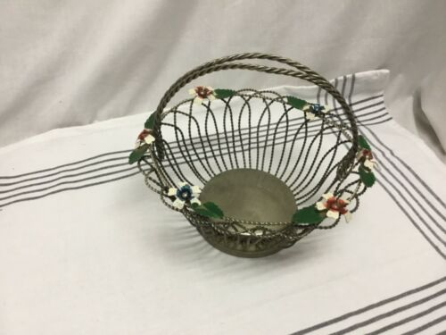 Vintage Silverplate Wirework Basket with blue and red Flowers Braided Metal Wire