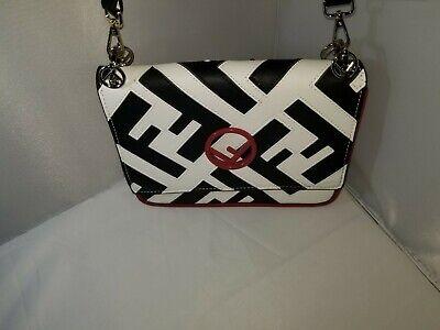 FENDI Two Tone Logo Shoulder Bag Black/White/Red
