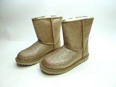 UGG Boots Kids classic short II Glitter Gold Youth size 3.0