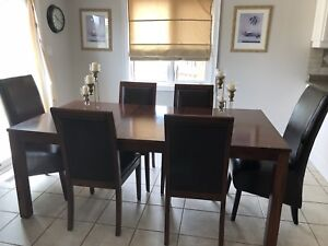 Wood Kitchen Dining Table, 6 Chairs
