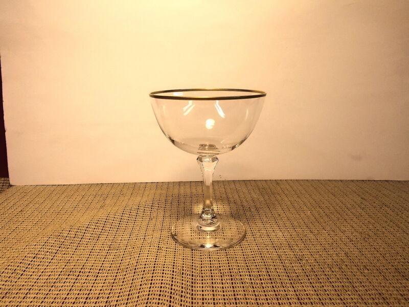 "Lenox Crystal Mansfield Pattern Champagne Sherbet Stem 5 1/4"" Gold Trim"