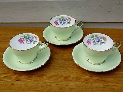 x3 Aynsley Mint Floral Bouquet Bone China Tea Cup & Saucer C283/1