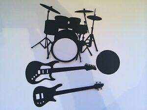 die cut card electric guitar bass drums kit rockstar music notes crotchet quaver ebay. Black Bedroom Furniture Sets. Home Design Ideas