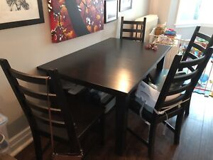 Large Ikea dining set (Stornas table, 6 Kaustby chairs)
