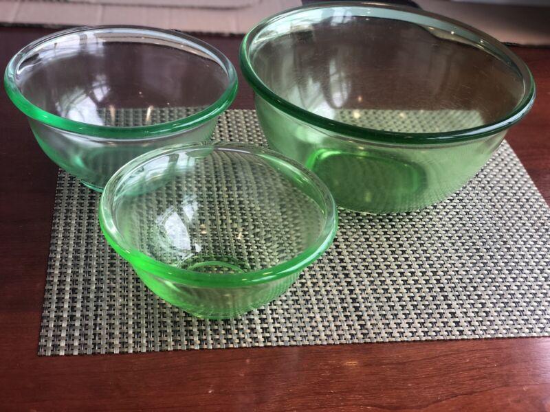 Vintage SET OF 3 Hazel Atlas ANCHOR HOCKING Vaseline Mixing Bowls