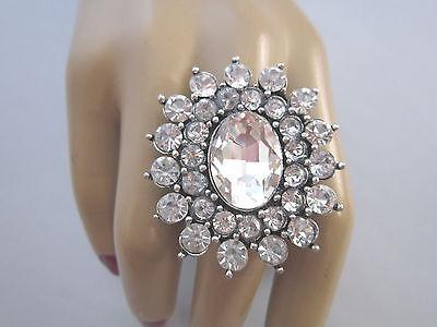 Strass Ring Fingerring Damenring Silber Klar Transparent Kristall XL Bling Bling