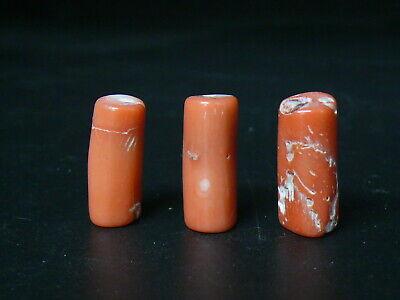 (uC135) Tibet: 3 Vintage  Orange Natural Coral Beads