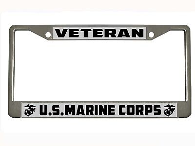 Marine Corps License Plate Frame (US Marine Corps Marines Veteran Military License Plate Frame Holder CHROME/BLACK )