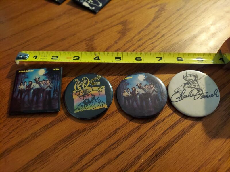 CHARLIE DANIELS LOT OF 4 BUTTONS