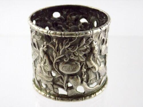 Vintage Unmarked Monogrammed Sterling Silver Oriental Asian Napkin Ring Figural