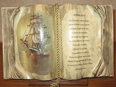 *NEW* Cadre Livre PARRAIN H.20cm L.30cm Josephine Maryse
