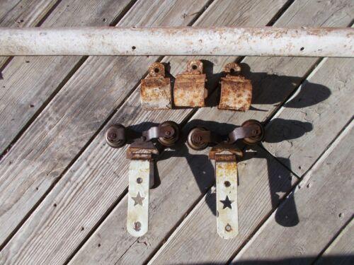 Antique Starline Cannonball Barn Door Hardware Rollers, Track & Hangers