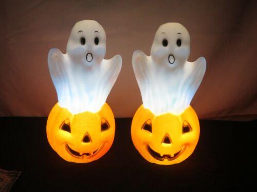 2 Halloween Blow Mold Pumpkin Ghost color changing Blowmold