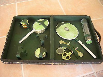 15 pc Vintage Celluloid Bakelite Vanity Dresser Set Mirror Brush case Art Deco