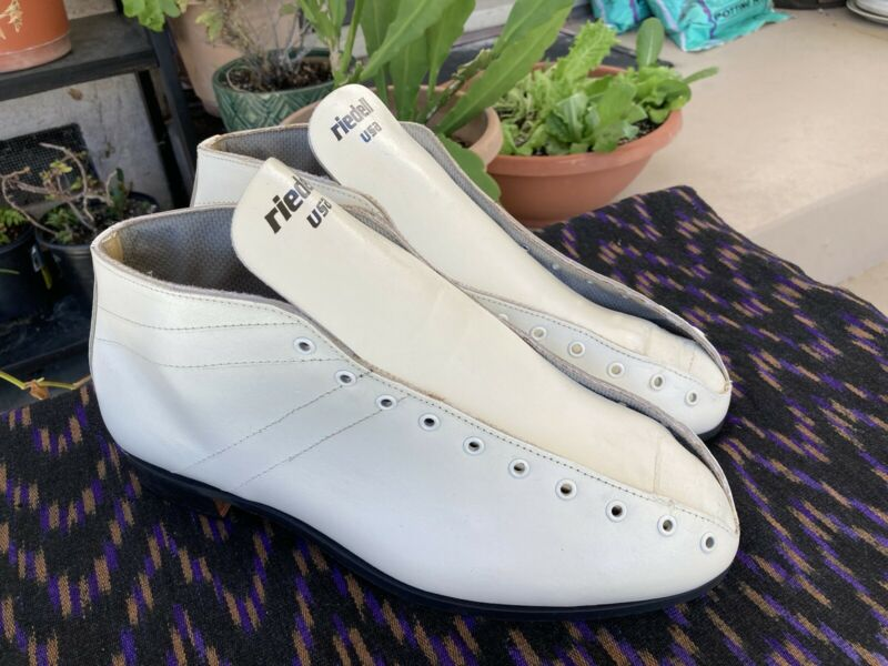 Vintage Riedell 122 13 M White Leather Speed Skate Boots