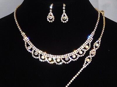 - 3PC Gold W. AB Iridescent Rhinestone Necklace, Earrings & Bracelet Set /17968
