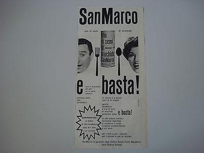advertising Pubblicità 1961 OLIO DI SEMI DI ARACHIDE SAN MARCO