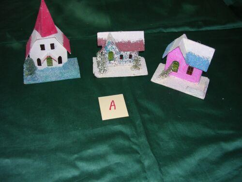 #A  3 Vintage Christmas Tree Putz Mica Cardboard Village Houses & Church ~Japan