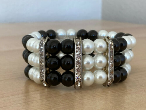 Vintage Rhinestone Accented Black and White Faux Pearl Stretch Bracelet