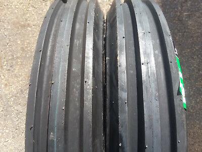 2 New 400-15 Farm F-2 Tri-rib 3 Rib Tires W Tubes 4 Ply Tractor 4.00 Yanmar