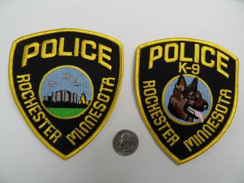 2 Lot ROCHESTER Patrol & K9 MINNESOTA MN POLICE SHERIFF shoulder patches