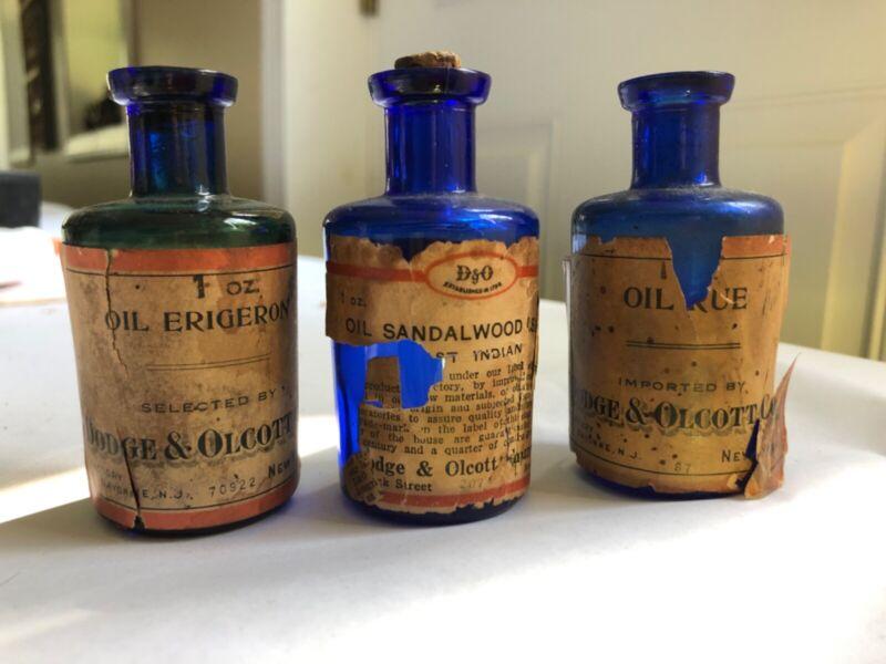 3 Antique Cobalt Labeled Bottles Dodge & Olcott Oil Erigeron Full Sandalwood