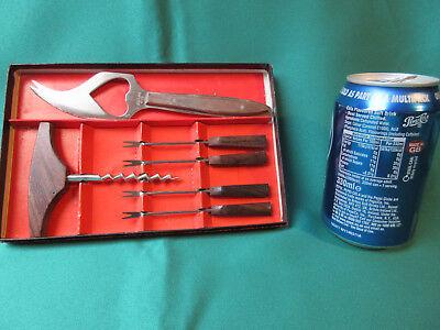 Bar set of corkscrew, olive/cherry forks & lemon/lime knife with bottle opener - Cherry Bar Set