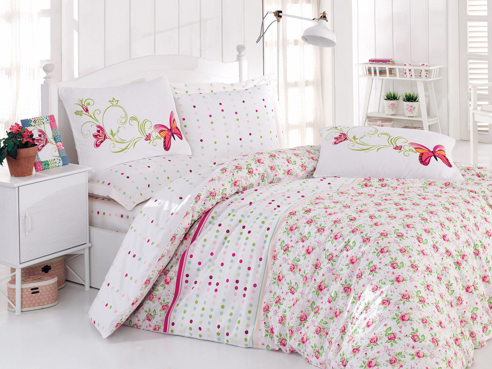 Floral White Pink Duvet Cover 100 Cotton Soft Bedding Set Reversible Queen King Ebay