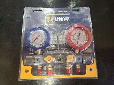 Yellow Jacket 46001 Brute Ii 4-valve Manifold With Liquid Gauges Barpsi R-410