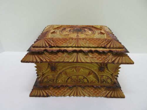 Vintage Antique Russian Tramp Art Carved Sewing Trinket Jewelry Box ~RARE~