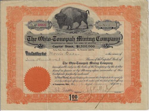 NEVADA 1907 The Ohio Tonopah Mining Company Stock Certificate