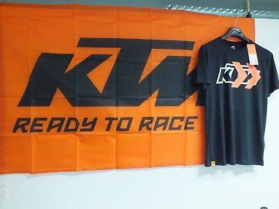 Art.325 KTM Fan Artikel Set T-Shirt schwarz Gr. M + Fahne Flagge Neue Auflage
