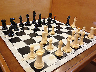 QUADRUPLE WEIGHT CHESS SET Black Board NATURAL PIECES Tournament NEW GAME Fun