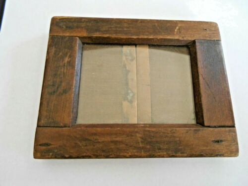 ANTIQUE  Primitive Hand=Made Picture Frame with Glass Hand forged closure L00K!!