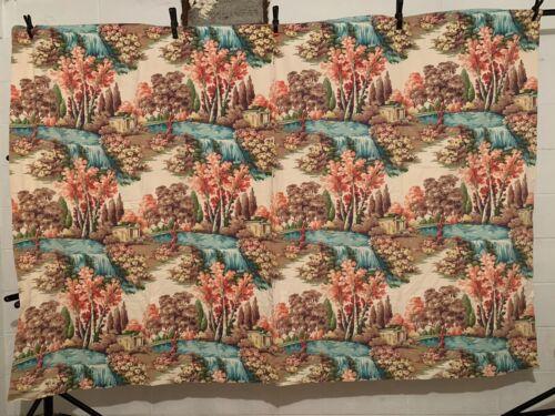 Vintage Cotton Barkcloth Curtain Decorating Fabric 50s GORGEOUS Floral 152w 62L