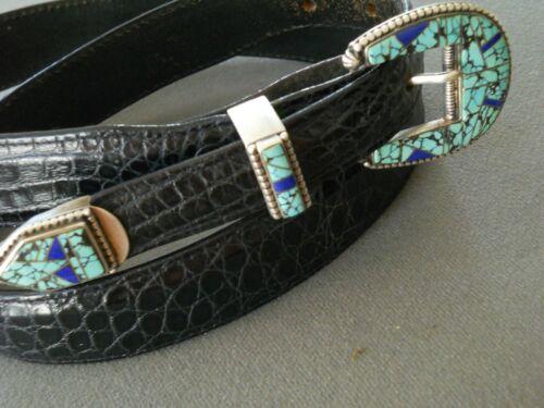 ZORA JOE Native American Turquoise Lapis Inlay Sterling Silver Ranger Set Belt
