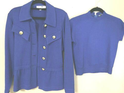 ST JOHN Sz PS Royal Blue Knit Top + Jacket Cap Sleeve Top 5 Button Jacket 2 4 6