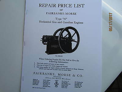 1909 Fairbanks Morse Type N Gas Engine Parts Catalog