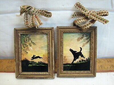 Antique Reverse Painted Hound Rabbit Silhouette Hand Carved Frame Folk Art