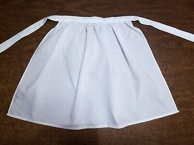 Girls White Pioneer Apron Prairie Colonial Historical Costume Accessory